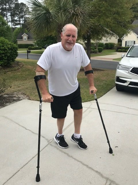 Brian DeMatteo with his SideStix after Surfer's myelopathy